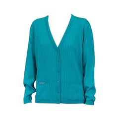 Courreges Rib Knit Turquoise Logo Cardigan