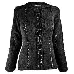 Courreges Vintage Womens Black Sequin Cable Knit Sweater