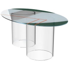 Court 2 Oval Dining Table by Pieces, Modern Printed Glass Surface Acrylic Bases