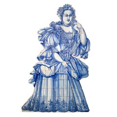 Court Lady Hand Painted Portuguese Blue and White Glazed Ceramic Tile Panel