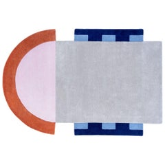 """Court Series"" Abstract Key Rug by Pieces, Hand-Tufted Colorful Sporty Carpet"