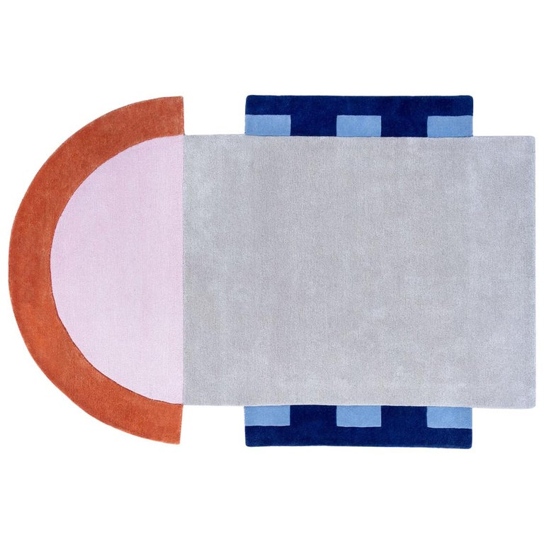 """Court Series"" Abstract Key Rug by Pieces, Hand-Tufted Colorful Sporty Carpet For Sale"