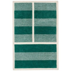 """Court Series"" Grass Court Rug by Pieces, Modern Hand-Tufted Stripe Sporty Carpe"