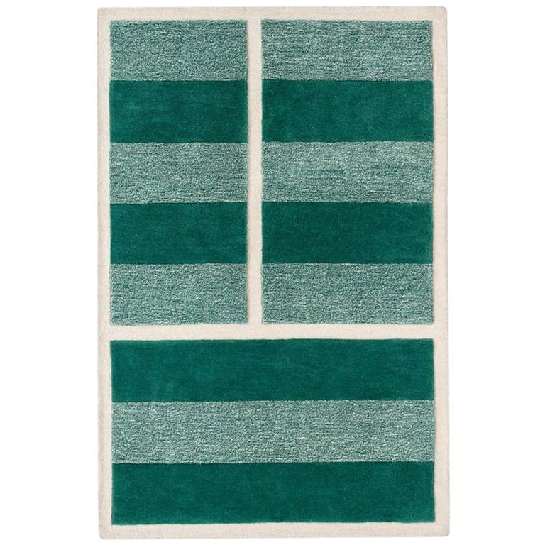 """""""Court Series"""" Grass Court Rug by Pieces, Modern Hand-Tufted Stripe Sporty Rug"""