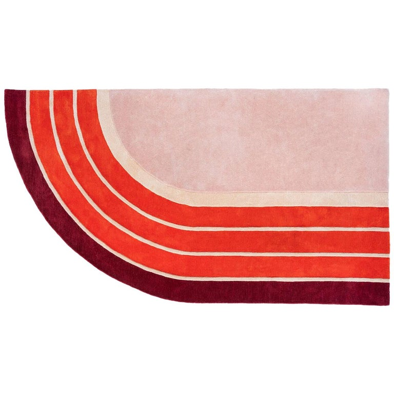 """Court Series"" Track Rug by Pieces, Modern Hand Tufted Colorful Sporty Carpet For Sale"