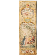 'Courtisans au Parc' French 18th Century Style Tapestry 3'3 x 11'3