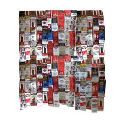 Blanket- Mixed Media Hanging Sculpture With Found Objects, Red, Cigar, Wrappers