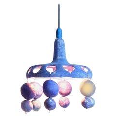 Courtship Behavior Wee Pendant Lamp, Hand-Built Blue Ceramic by Yuko Nishikawa