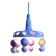 Courtship Behavior Wee Pendant Lamp in Hand-Built Ceramic in Matte Blue