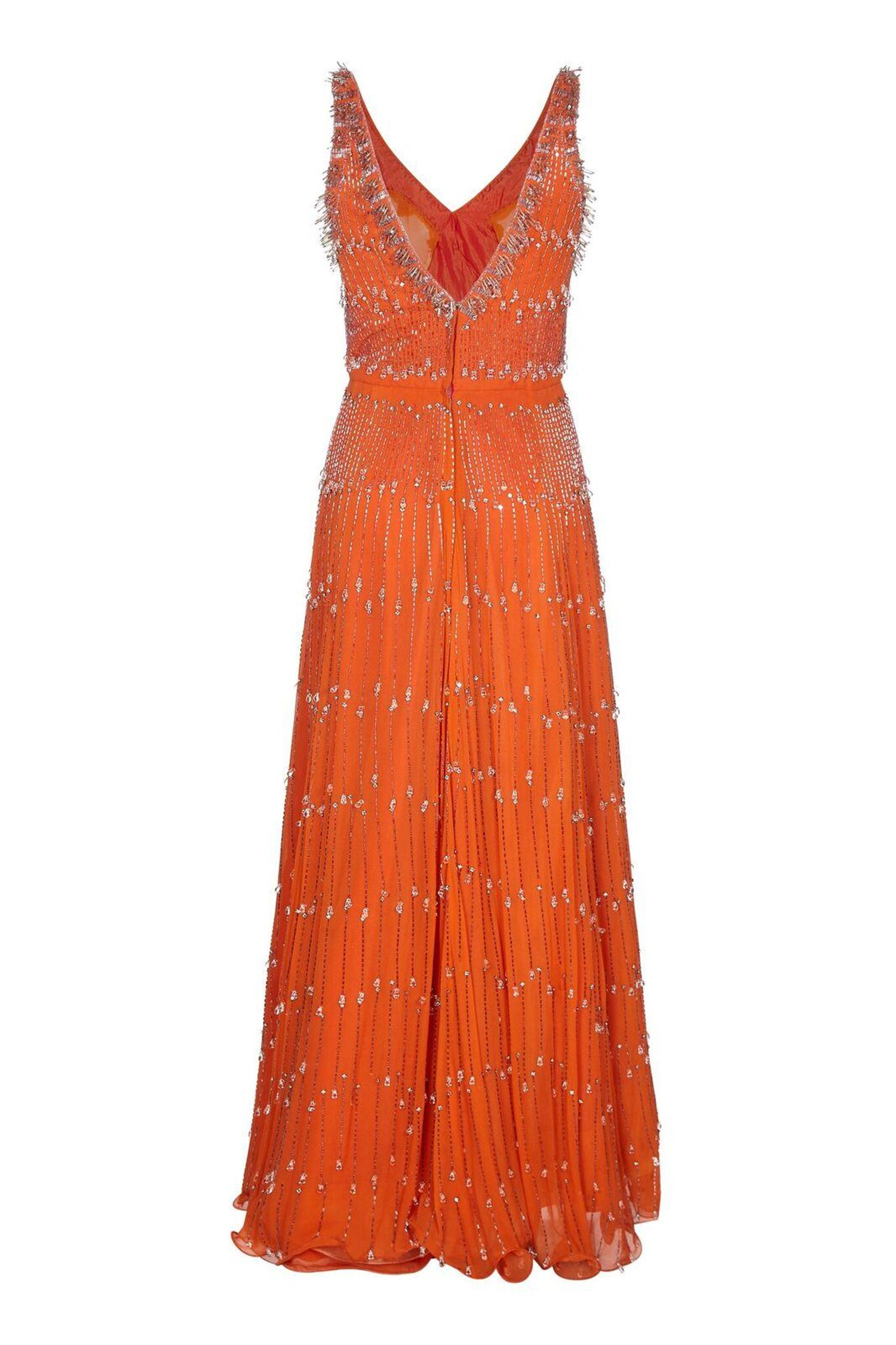 42e1e1c61ba Couture 1960s Burnt Orange Silk Chiffon Gown With Crystal Bead Embellishment  For Sale at 1stdibs