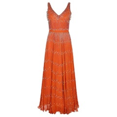 Couture 1960s Burnt Orange Silk Chiffon Gown With Crystal Bead Embellishment