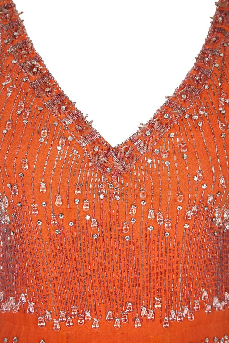 Couture 1960s Orange Silk Chiffon Gown With Crystal Bead Embellishment  In Excellent Condition For Sale In London, GB