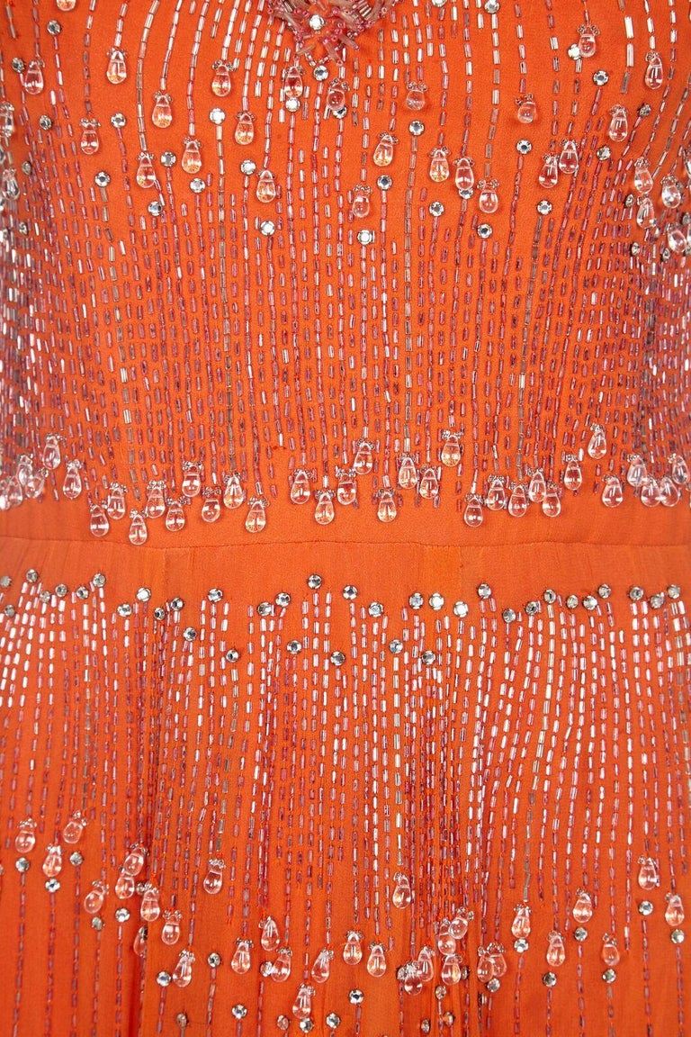Couture 1960s Orange Silk Chiffon Gown With Crystal Bead Embellishment  For Sale 1