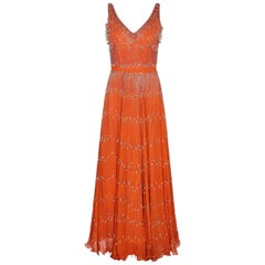 Couture 1960s Orange Silk Chiffon Gown With Crystal Bead Embellishment