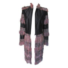 Couture Badal Black Silk Fringe Coat