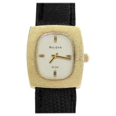 Couture Bulova For Christian Dior 14 Karat Gold White Dial Ladies Wristwatch