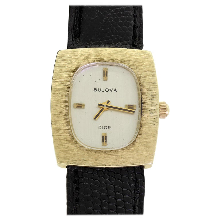 Couture Bulova For Christian Dior 14 Karat Gold White Dial Ladies Wristwatch For Sale