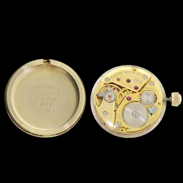 Couture Bulova For Christian Dior 14 Karat Gold White Dial Ladies Wristwatch In Good Condition For Sale In Lauderdale by the Sea, FL
