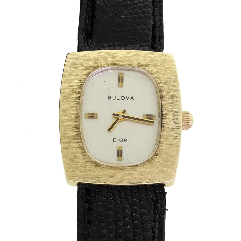 Couture Bulova For Christian Dior 14 Karat Gold White Dial Ladies Wristwatch For Sale 1