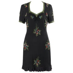 Couture c. 1940's Black Multicolor Floral Glass Bead Embroidered Shift Dress