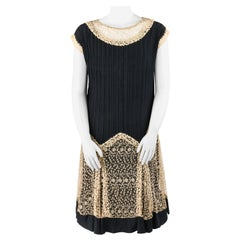 COUTURE c.1920s Black Chiffon Silk Beige Lace Pintuck Flapper Dress Slip Set L