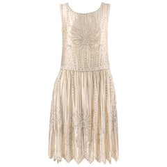 Couture c.1920's Champagne Silk Floral Glass Beaded Rhinestone Flapper Dress