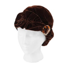 COUTURE c.1920's Dark Brown Ruffle Tortoise Shell Crystal Deco Velvet Cloche Hat