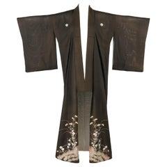 COUTURE c.1920s Kikyo Ume Pine Flower Silk Iro Tomesode Formal Wedding Kimono