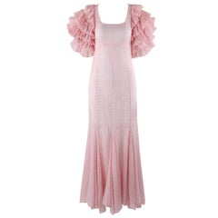 COUTURE c.1930's Pink Swiss Dot Dramatic Tiered Ruffle Sleeve Maxi Dress Gown