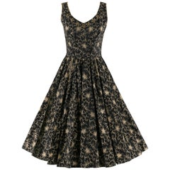 COUTURE c.1950's Black Gold Floral Beaded Rhinestone Fit n Flare Party Dress
