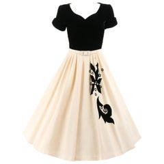 COUTURE c.1950's Black Ivory Velvet Floral Pearl Beaded Belted Party Dress