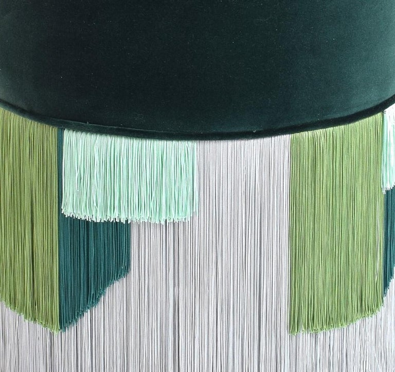 Italian Couture Dark Green Pouf with Geometric Fringe by Lorenza Bozzoli Design For Sale