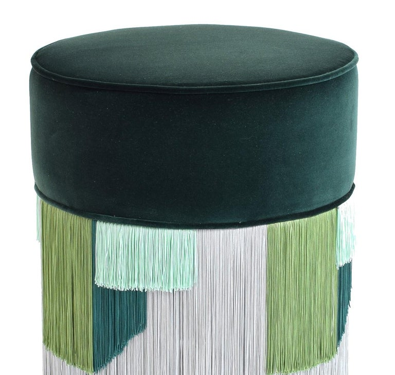 Couture Dark Green Pouf with Geometric Fringe by Lorenza Bozzoli Design In New Condition For Sale In Milan, IT