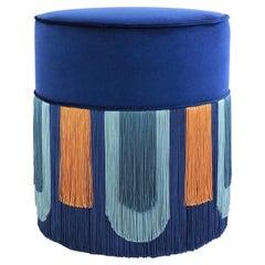 Couture Geometric Decò Blue Pouf