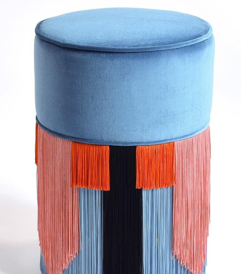Italian Couture Light Blue Pouf with Geometric Fringe by Lorenza Bozzoli Design For Sale