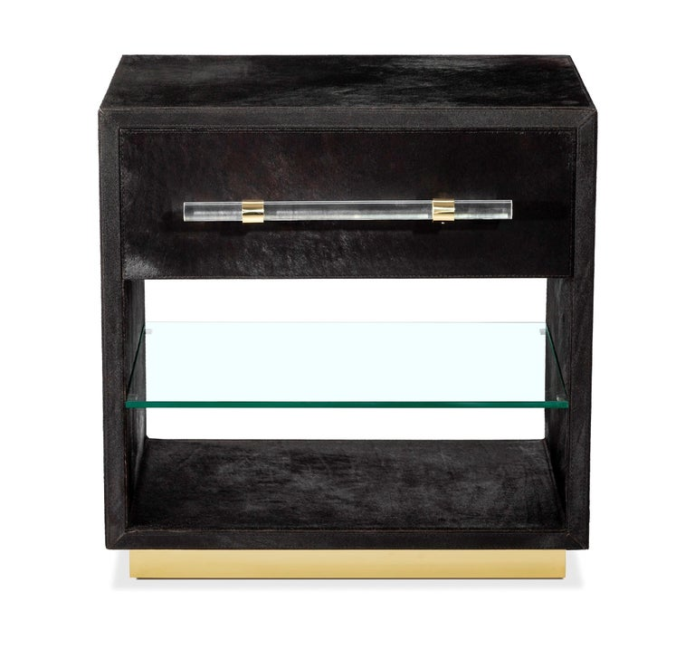 Modern Couture Made Hide Bedside Tables with Brass Detailing, Set of Two For Sale