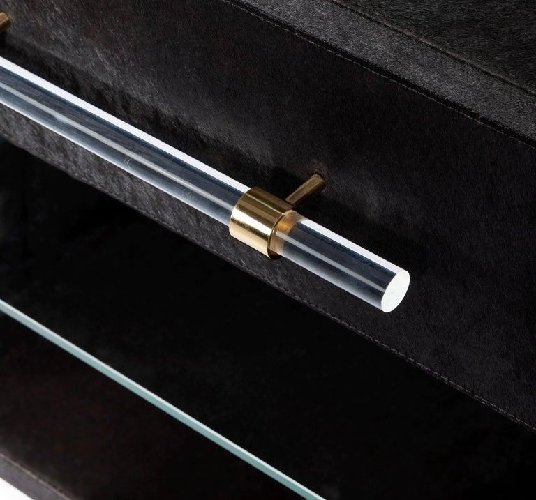 European Couture Made Hide Bedside Tables with Brass Detailing, Set of Two For Sale