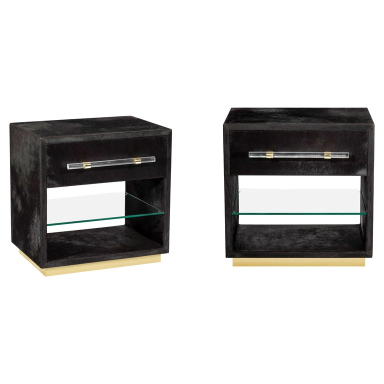 Couture Made Hide Bedside Tables with Brass Detailing, Set of Two For Sale