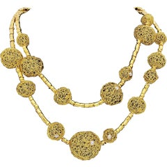 Couture Orlando Orlandini 18kt Gold Diamond Lace Sphere Necklace Double Row 76G