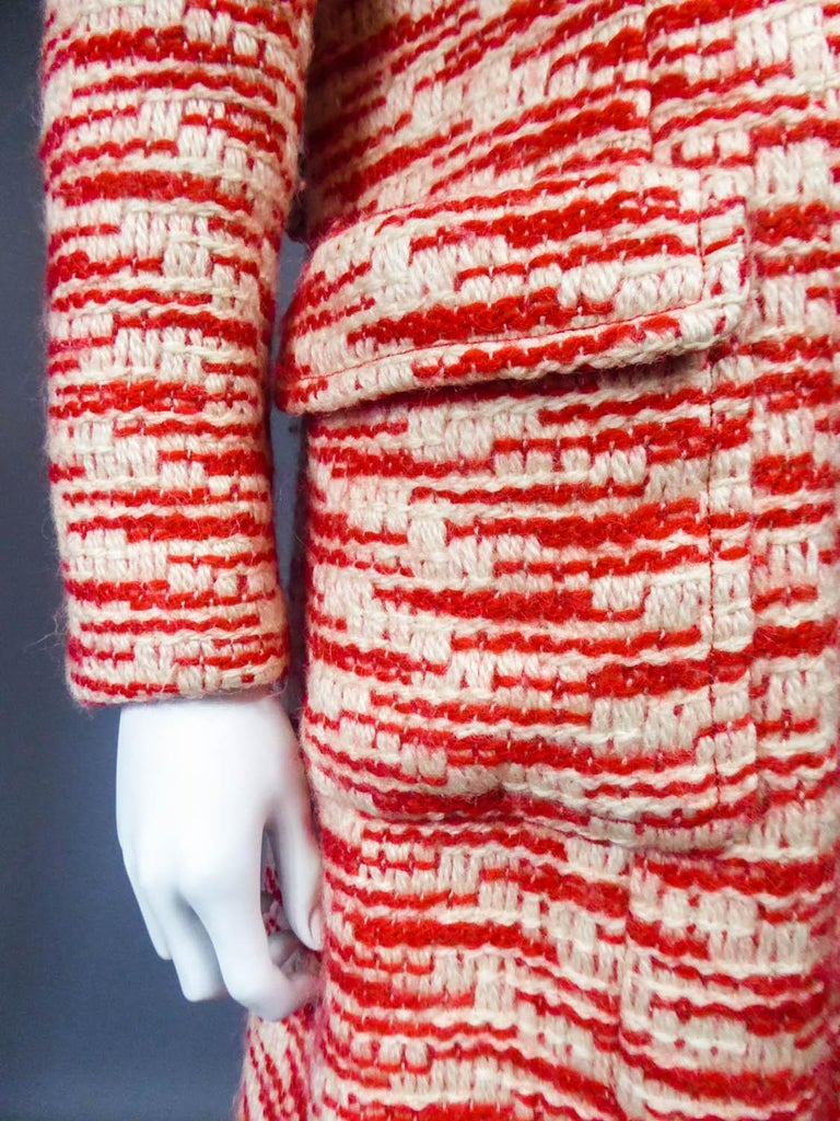 Couture Pierre Balmain Chiné Knitted Coat Circa 1970 11