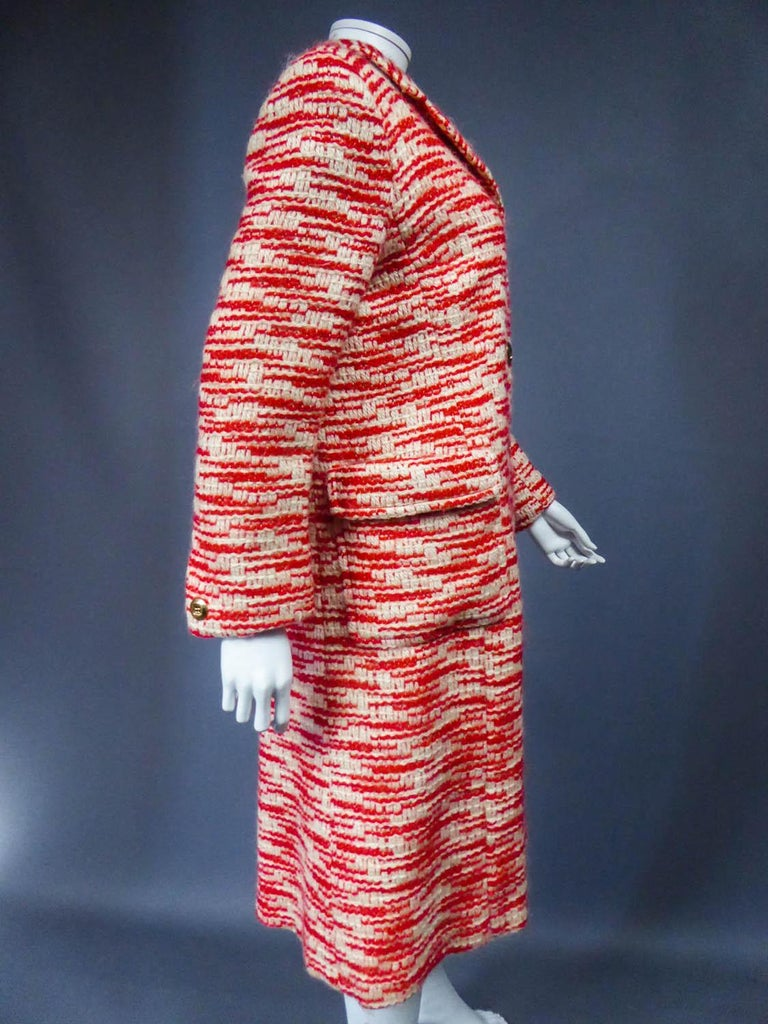Couture Pierre Balmain Chiné Knitted Coat Circa 1970 12