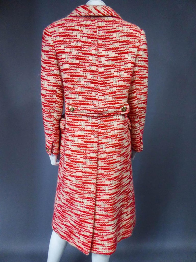 Couture Pierre Balmain Chiné Knitted Coat Circa 1970 13
