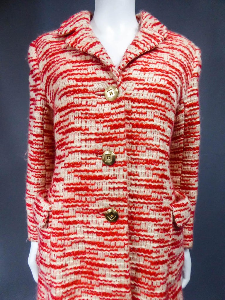 Couture Pierre Balmain Chiné Knitted Coat Circa 1970 4