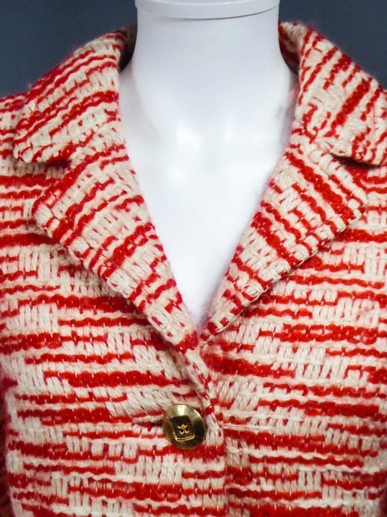 Couture Pierre Balmain Chiné Knitted Coat Circa 1970 7