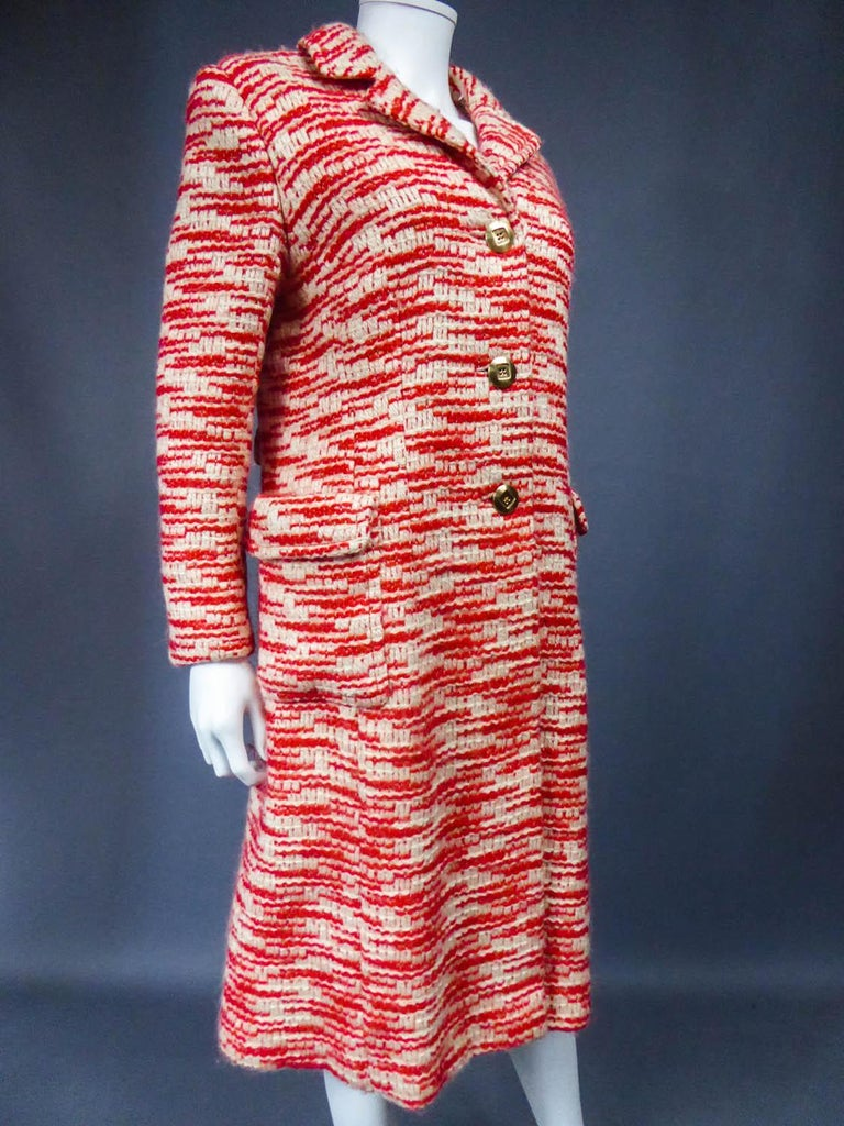 Couture Pierre Balmain Chiné Knitted Coat Circa 1970 9