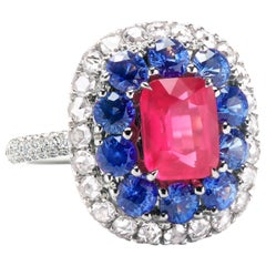 Couture Ring with Natural Strawberry Spinel, Diamonds and Sapphires by Leon Mege