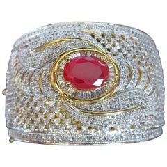 Couture Sparkling Ice CZs Genuine Ruby Reversible Statement Cuff  Bracelet