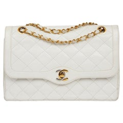 Couture Timeless CHANEL Vintage Bag in White Lambskin Leather