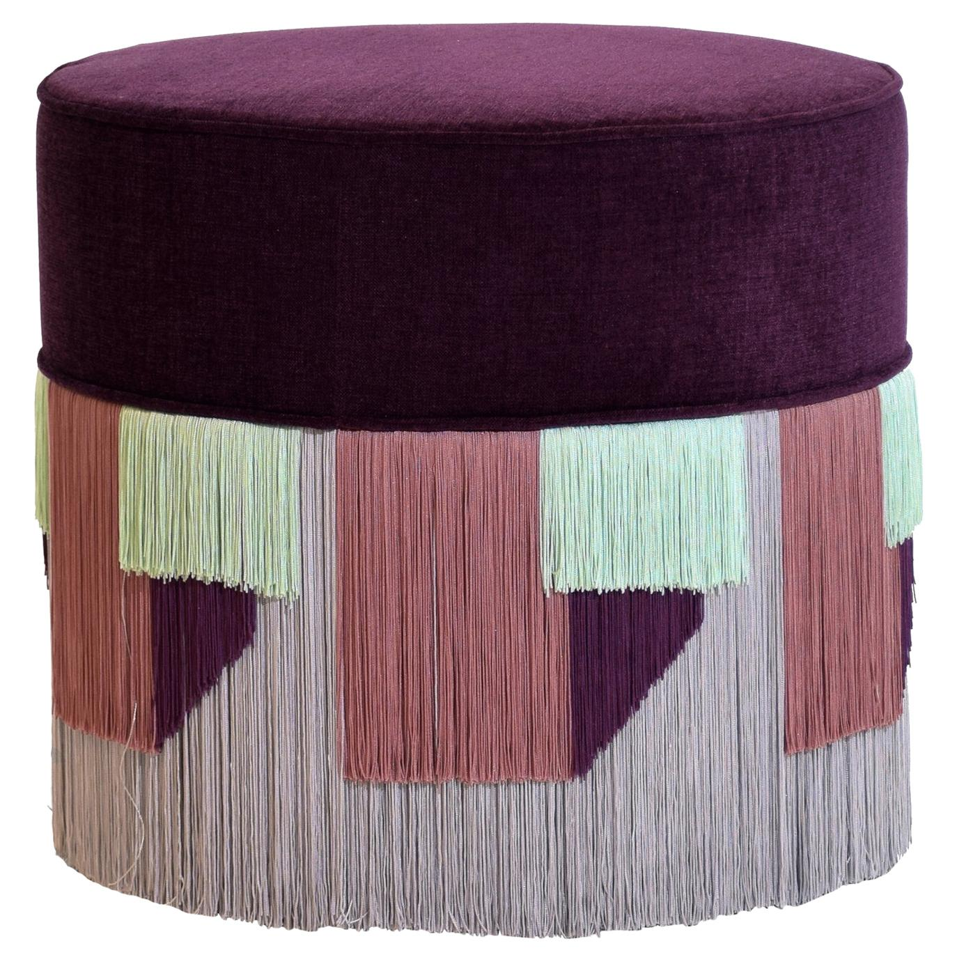 Couture Violet Pouf with Geometric Fringe