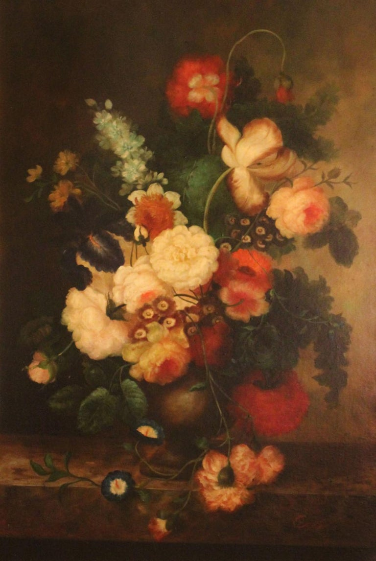 Oil on canvas. Signed Covelly, lower right. A floral still life. Measures: 36